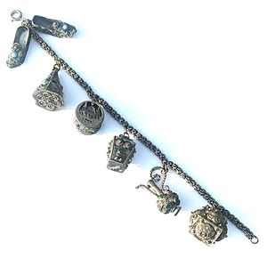 ANTIQUE Byzantine Sterling Silver Charm Bracelet